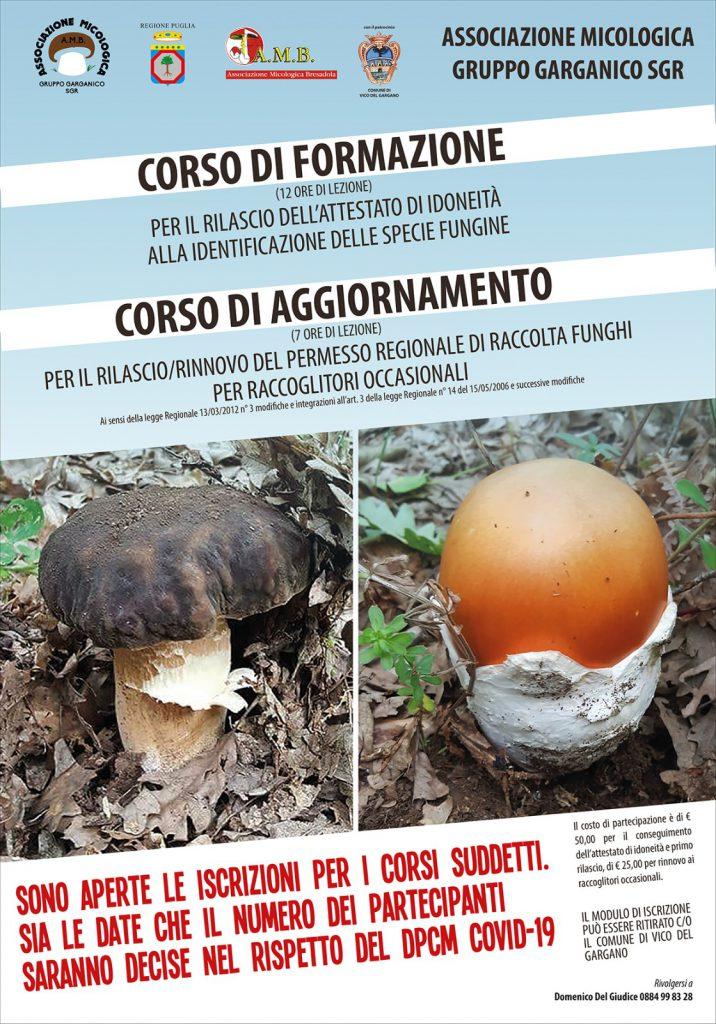 Corsi di aggiornamento rinnovo permesso regionale raccolta funghi